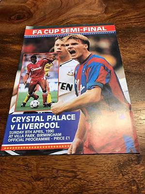 Crystal Palace V Liverpool 1990 Fa Cup Semi Final Programme Mint Free Postage