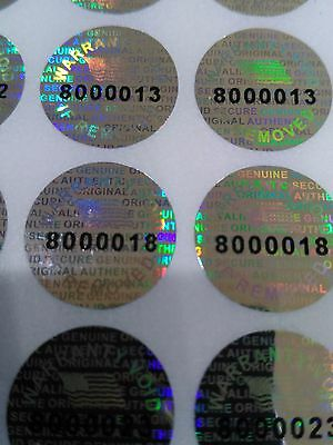 Pair serial 14mm-0.50 ROUND TAMPER EVIDENT SECURITY VOID HOLOGRAM LABEL STICKER