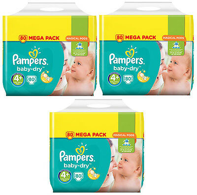 NEUF Lot 240 Couches Pampers baby-dry Taille 4+ Maxi+ de 9 à 18kg Mega Pack