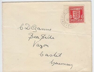 Guernsey 1941 Ww2 Wartime 1D Coat Of Arms Cobo Sub Post Office First Day Cover