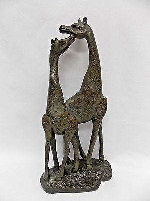 Double Giraffe Dark Brown Figurine 14 In tall x8 In wide Made of Resin Material