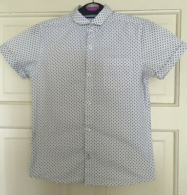 Next Boys White With Diamond Design Short Sleeve Shirt Age 8 Years