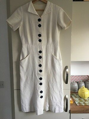 Vintage Retro Cream White Dress Blue Buttons Costume Stage Theatre Size 10