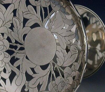 SUPERB CHINESE EXPORT SOLID SILVER PIERCED DISH TAZZA c1900 ANTIQUE 118g