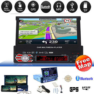 "7"" 1DIN Car MP3 MP5 Player GPS Navigation Bluetooth HD Touch Radio + Europe Map"