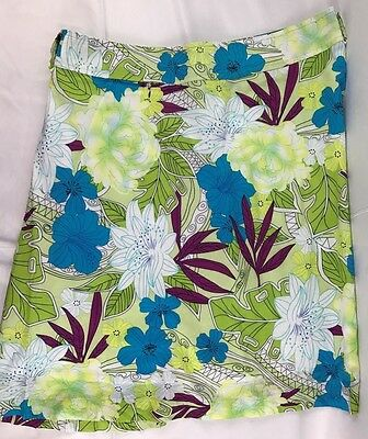 Women's Skirt Size 8 Bright Green Multicolor with white Floral Print George