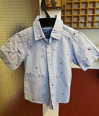boys summer short sleeved shirt age 5 blue zoo Debenhams worn once