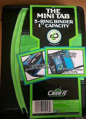 The Mini Tab 3 Ring Binder From Case-it Green MBF-711-NEO-Grn 2 zippered pockets