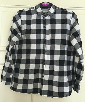 Next Boys Black & White Check Long Sleeve Shirt Age 7 Years