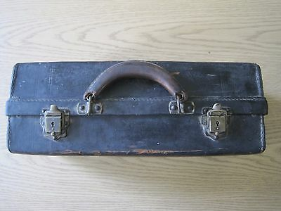 Vintage Antique  Black Leather Doctor Medical Tool Bag Case