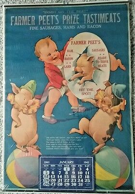 "Vintage Twelvetrees Ad 1941 Calendar Farmer Peet's ""On With The Show"" Poster"