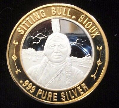 Colorado Central Station Casino Silver Gaming Token, Sitting Bull, Sioux