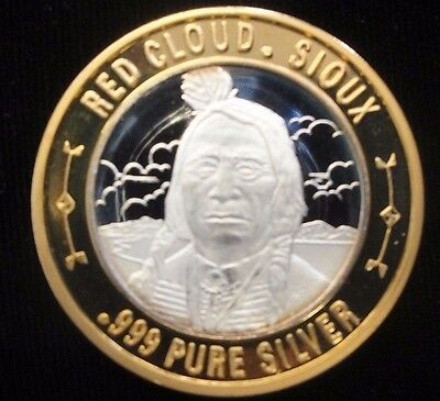 Colorado Central Station Casino Silver Gaming Token, Red Cloud, Sioux