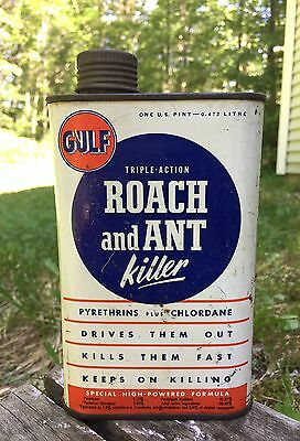 RARE Cool Vintage GULF Oil Corp. Roach And Ant Killer One Pint Metal Can