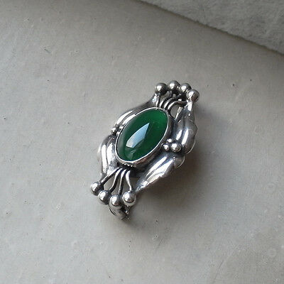 Georg Jensen Sterling Silver # 30 Brooch / Pin with Green Agates