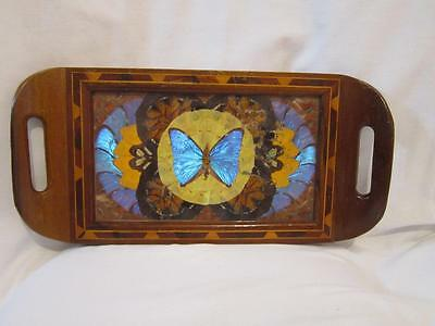 Vintage Butterfly Wing Inlaid Marquety Wood Curved Handle Serving Tray Brazil