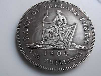 1804 George 111 Irish Six Shillings Silver Plate Restrike coin