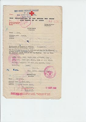 Guernsey 1942 Ww2 Wartime Red Cross Message Form