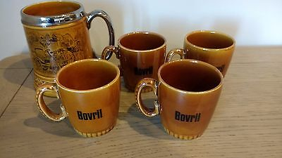 Retro Lord Nelson Ware Bovril Mugs x 4 + 1 Lord Nelson Ware Tankard