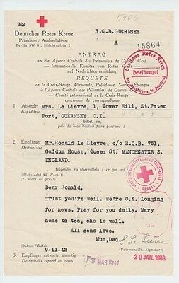Guernsey January 1943 Ww2 Wartime Red Cross Message Form