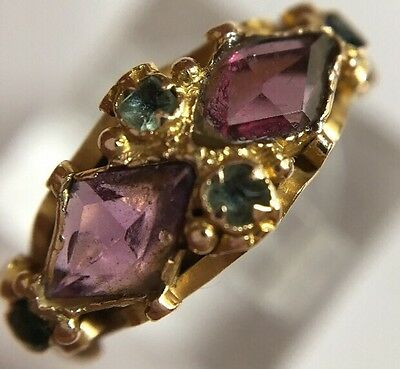 Victorian Antique 15ct Yellow Gold amethyst Emerald Ornate Ring Band