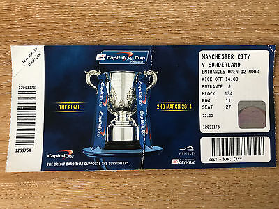MANCHESTER CITY v SUNDERLAND match ticket stub 02/03/14 (League Cup Final)