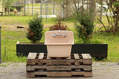 Refinished Pink Antique Style Utility Sink Cast Iron Farm Sink Wall Sink Package