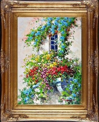 Framed Garden Painting Floral Window Signed French Impressionist Oil On Canvas
