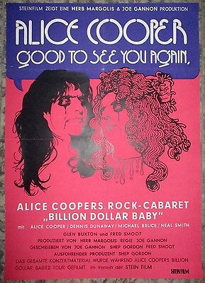 Alice Cooper Good to see you Again Rock Cabaret Billion Dollar Baby1974 A1Filmp