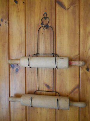 Vintage Wire Rolling Pin Rack Wall Mountable