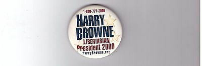 Official Harry Browne Presidential Libertarian Party 2000 Political Campaign Pin