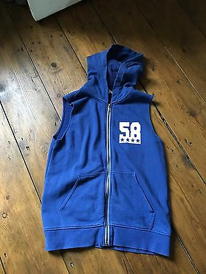 Boys Royal Blue Hoodie Hooded Sleeveless Top Gilet Age 8-10 Immaculate Cool