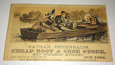 Antique Victorian Fishing w Cat, Greenbaum Shoes & Boots Advertising Trade Card!