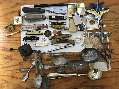 HUGE LOT Vintage Knives Silverplate Flatware Lighters Cuffs Coins More LOOK D-31