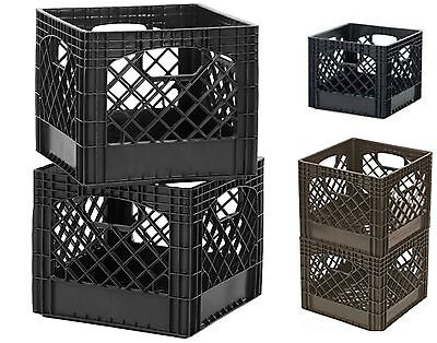 New Stackable Buddeez Classic Plastic Milk Crate Storage Stacking Black 2 Pack