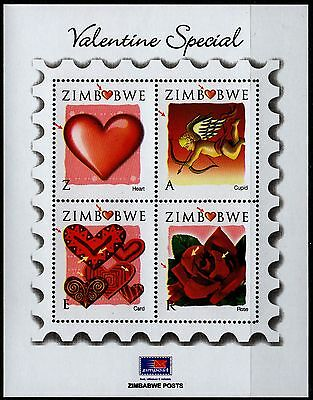 ZIMBABWE - 2008 Valentine's s/s with some black smudges SG MS1254 MNH (Br1147)