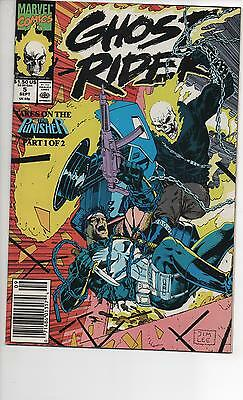 Ghost Rider #5 Nm/nm+ 1990 Jim Lee Art Ghost Rider Vs Punisher Story!