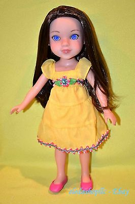 """2010 Playmates Doll Hearts for Hearts Girls 14"""" Brunette Blue Eyes Yellow Dress"""