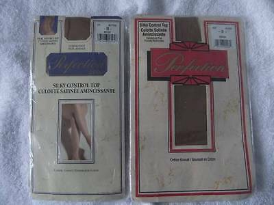 Vintage Pantyhose Stockings Silky Control Top Nylon Sissy Lot Of 2 Pairs Brown B