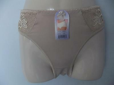 Vintage Panties Briefs Hi High Cut Nylon Lace Semi Sheer Sissy Lacy Size L