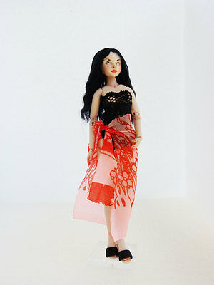 "Handmade Dollhouse BJD Female doll 1:12 OOAK pose-able 5,7"" anatomically corect"