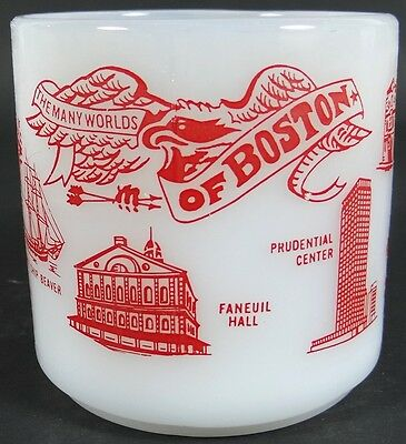 Boston Coffee Mug Cup Milk Glass Many Worlds Federal USA Heat Proof Vintage