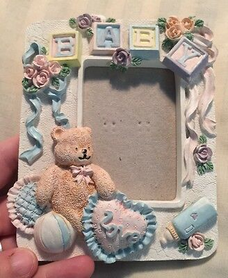 Baby Picture Frame Vintage Love Teddy Bear Bottle