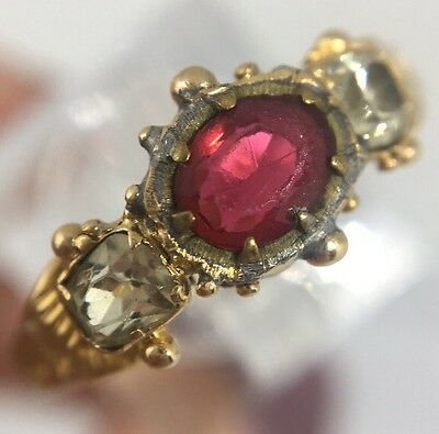 Antique Georgian Garnet And Chrysoberyl Pretty Ring Ornate Band Yellow Gold