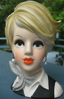 GORGEOUS 1960'S HEAD VASE THE AMERICAN STEWARDESS Hard T Find HEADVASE BY INARCO