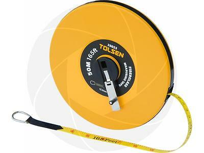 50M 165FT Constriction Imperial and Metric Fiberglass Measuring Long Tape Reel