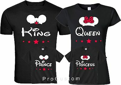 King and Queen Prince Princes Mickey and Minnie Family matching T-Shirts