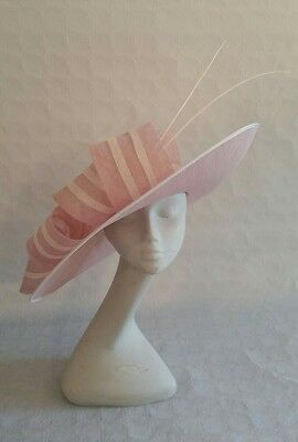 Ladies pink and ivory statement hat. Ascot stripe wedding made to order