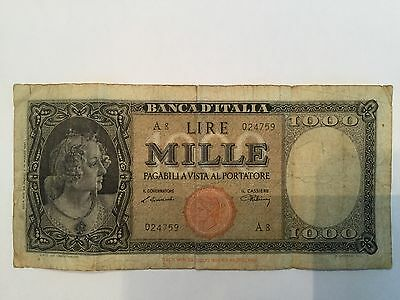 1947, 1000 Lire Italy Very High Value Banknote