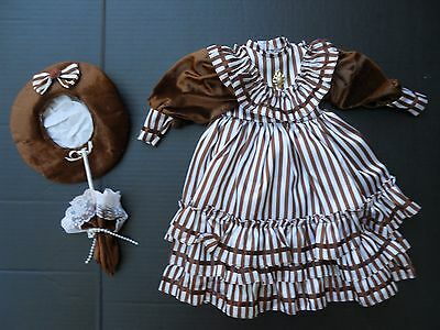 LARGE DRESS, HAT for BRU, BISQUE, ANTIQUE REPRODUCTION FRENCH or ARTIST DOLL